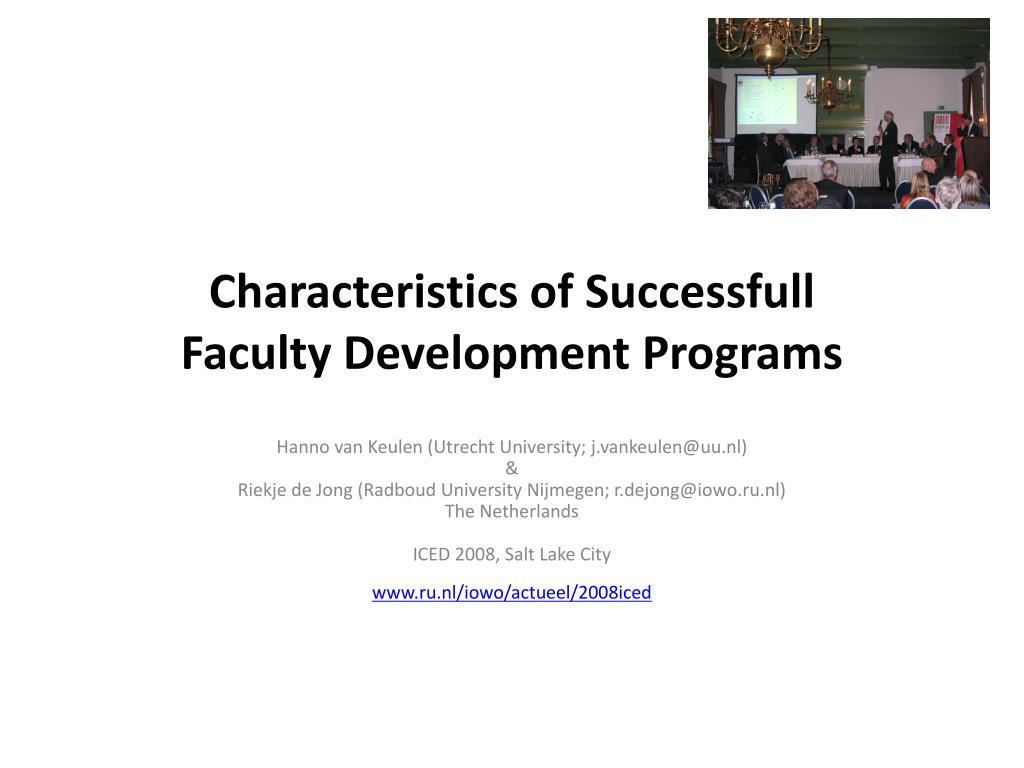 characteristics of successfull faculty development programs l.