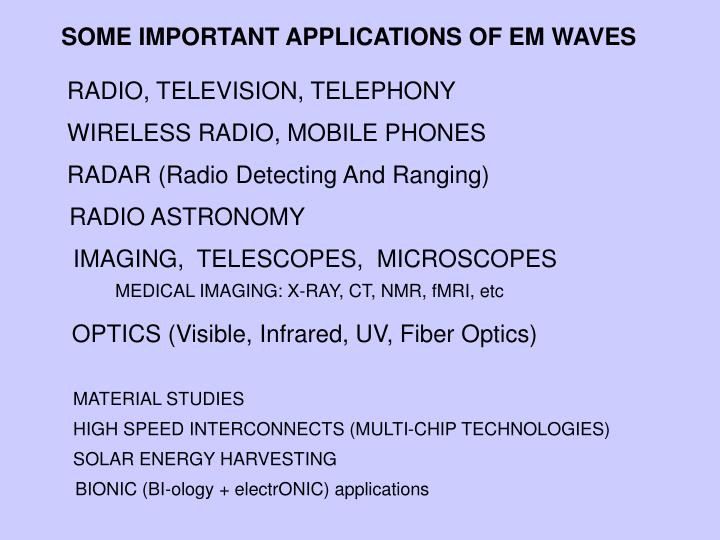 SOME IMPORTANT APPLICATIONS OF EM WAVES