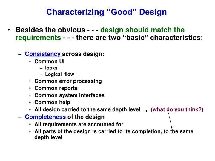 characterizing good design n.