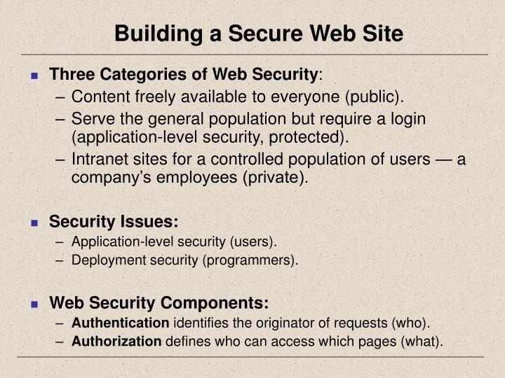 Building a secure web site