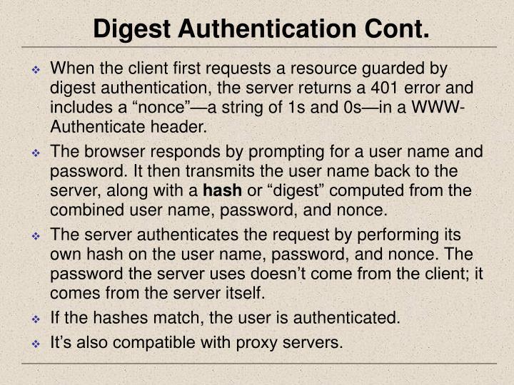 Digest Authentication Cont.