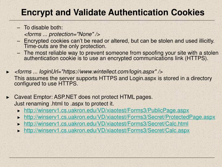 Encrypt and Validate Authentication Cookies