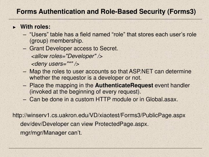 Forms Authentication and Role-Based Security (Forms3)