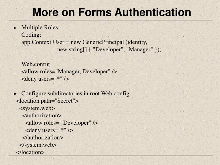 More on Forms Authentication