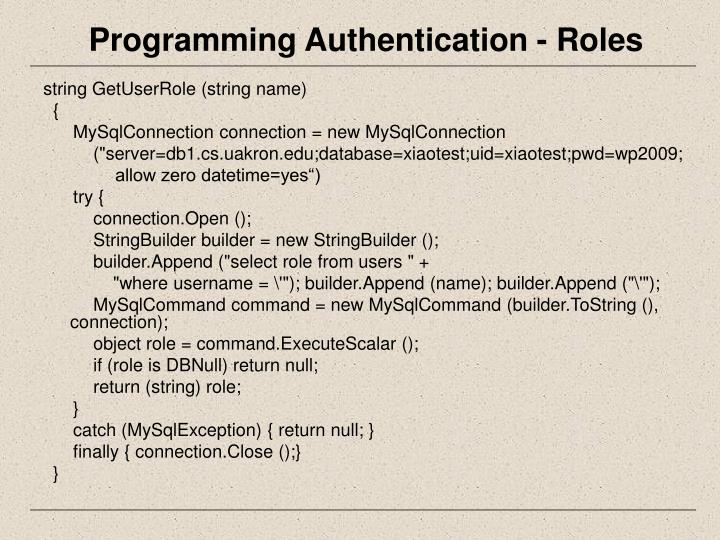 Programming Authentication - Roles