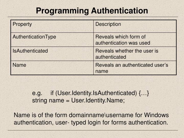 Programming Authentication