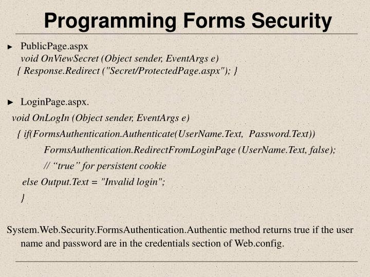 Programming Forms Security