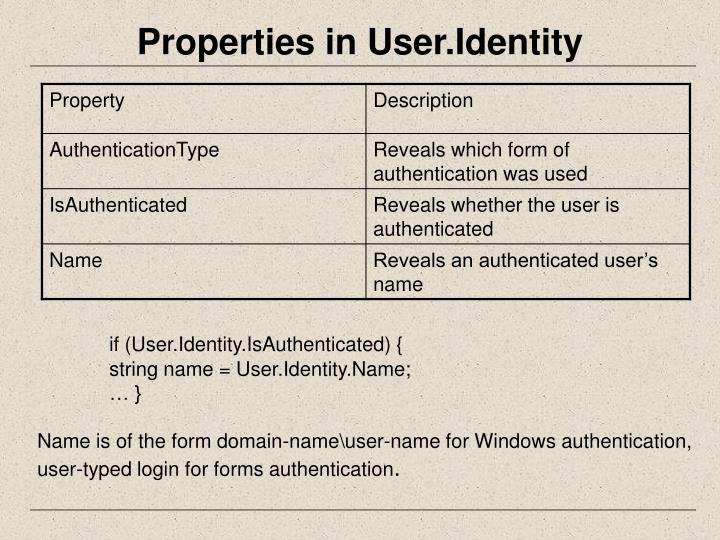 Properties in User.Identity