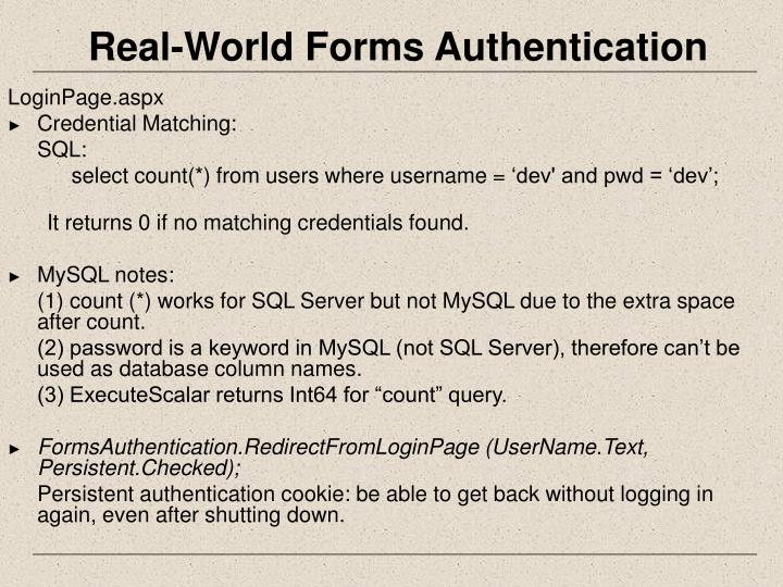 Real-World Forms Authentication
