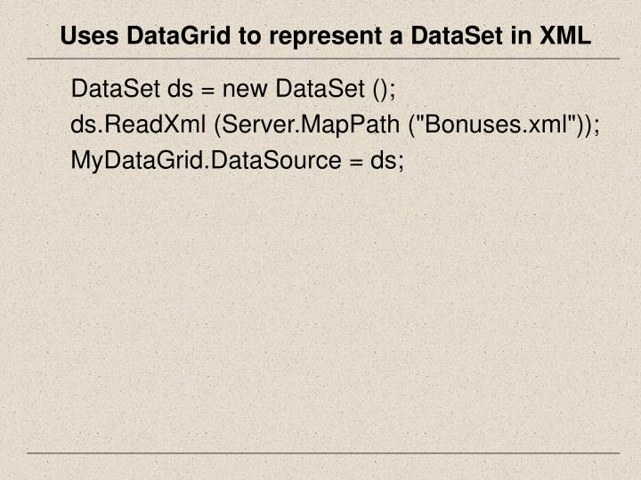 Uses DataGrid to represent a DataSet in XML