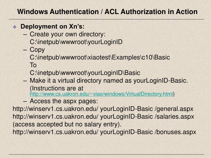Windows Authentication / ACL Authorization in Action