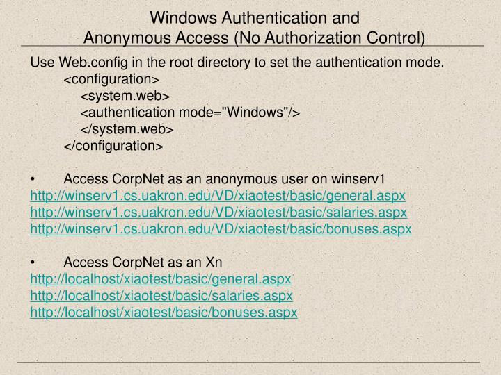 Windows Authentication and