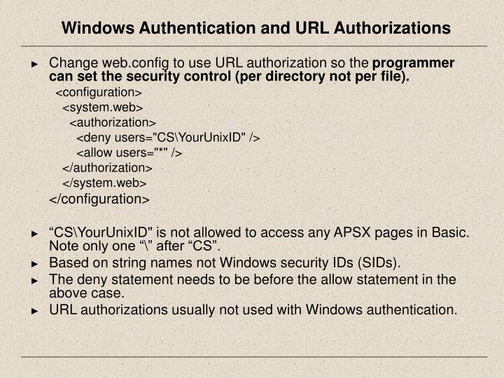 Windows Authentication and URL Authorizations