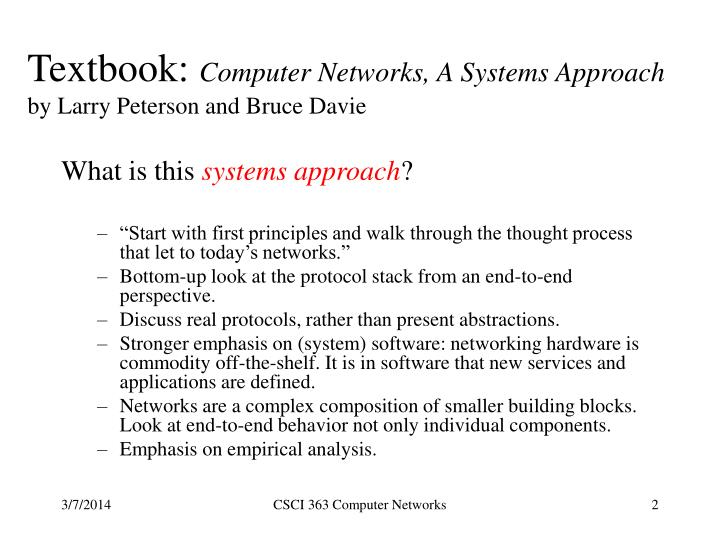 Textbook computer networks a systems approach by larry peterson and bruce davie