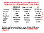 replace small number of large disks with large number of small disks 1988 disks