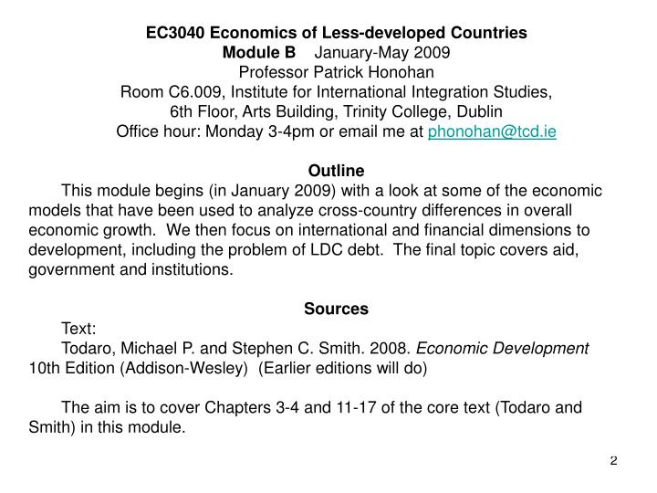 EC3040 Economics of Less-developed Countries