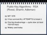 public key algorithms rsa rivest shamir adleman
