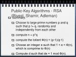public key algorithms rsa rivest shamir adleman17