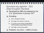 symmetric key algorithm des data encryption standard