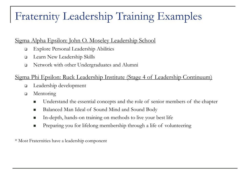Fraternity Leadership Training Examples