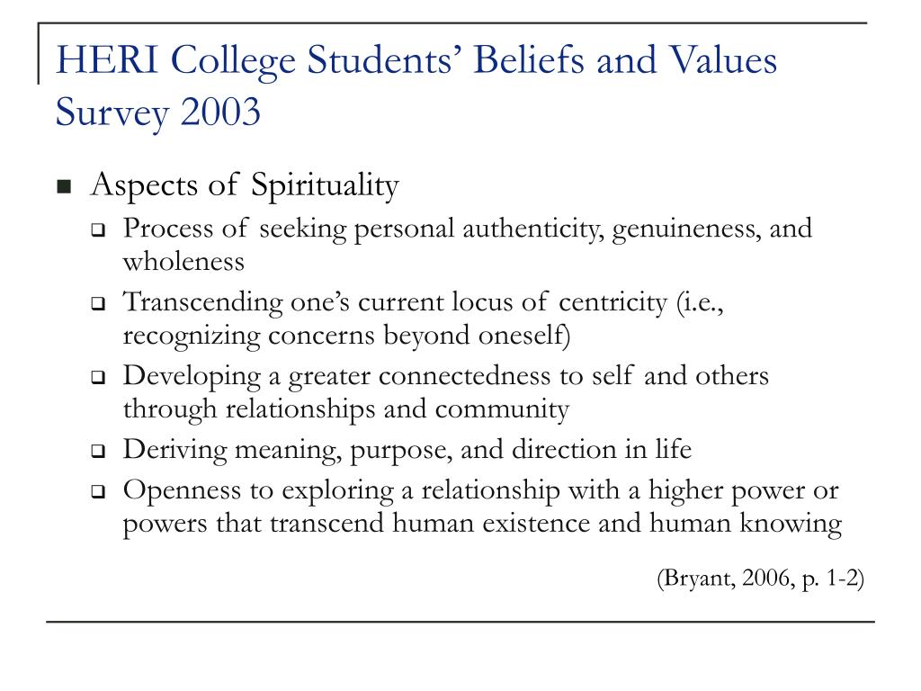 HERI College Students' Beliefs and Values Survey 2003