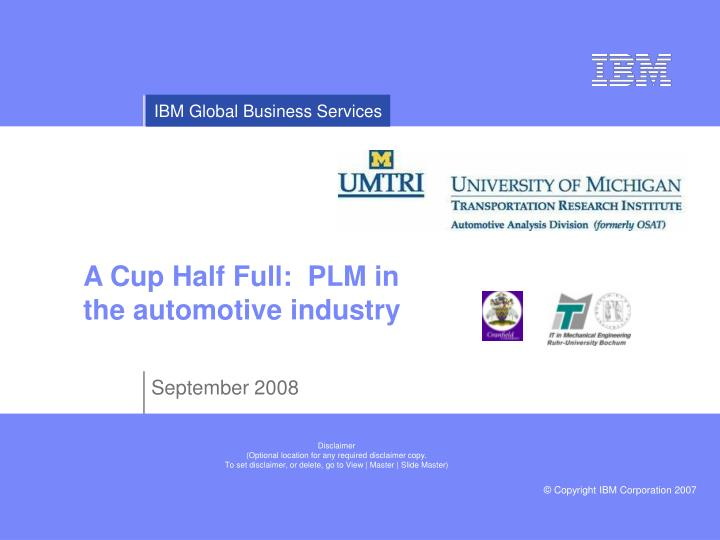 a cup half full plm in the automotive industry n.