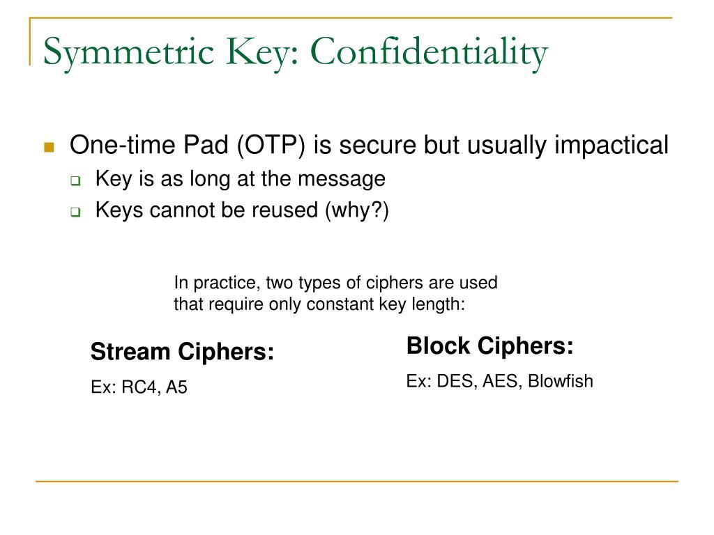 Symmetric Key: Confidentiality