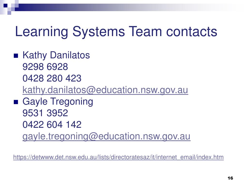 Learning Systems Team contacts