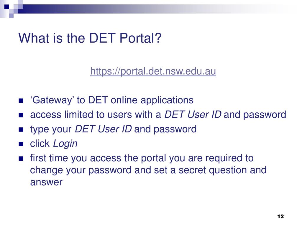 What is the DET Portal?