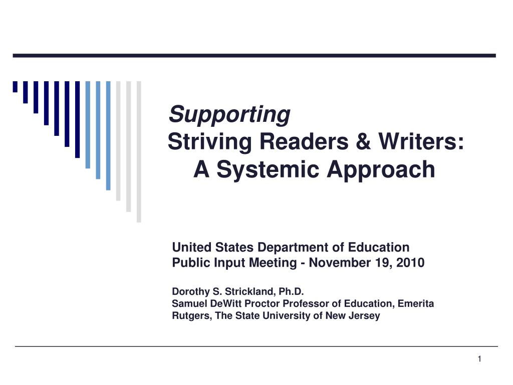 supporting striving readers writers a systemic approach l.