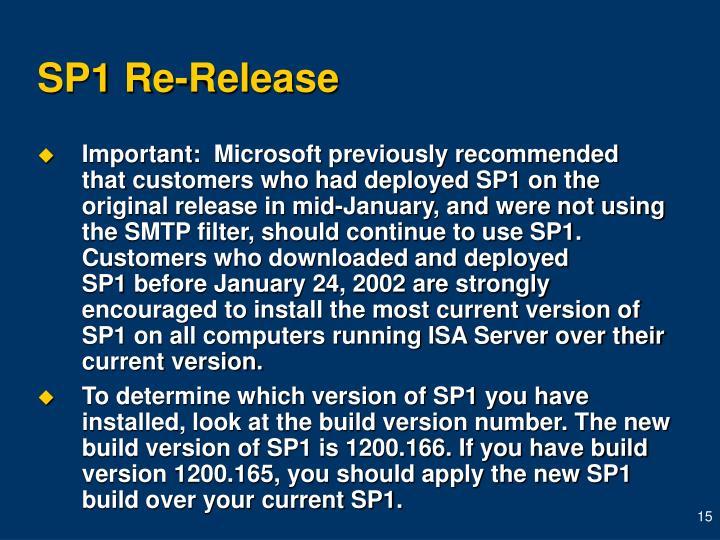 SP1 Re-Release