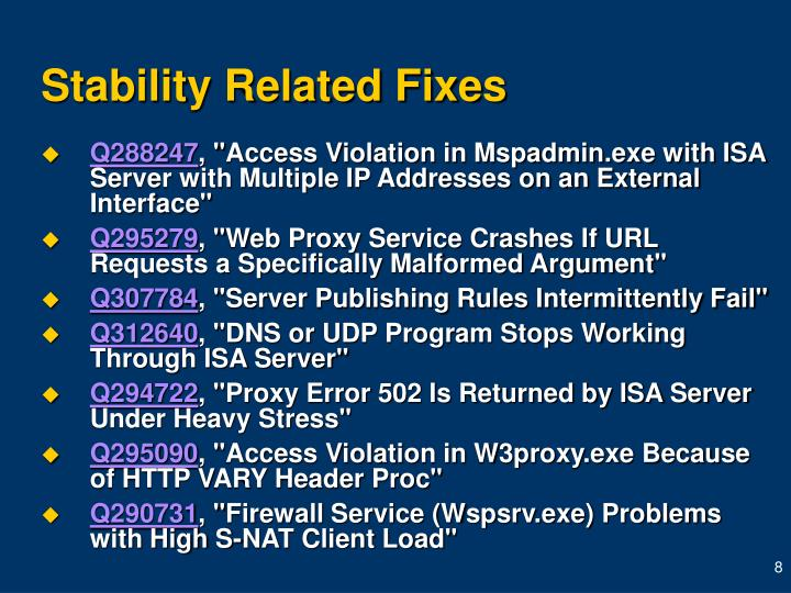 Stability Related Fixes