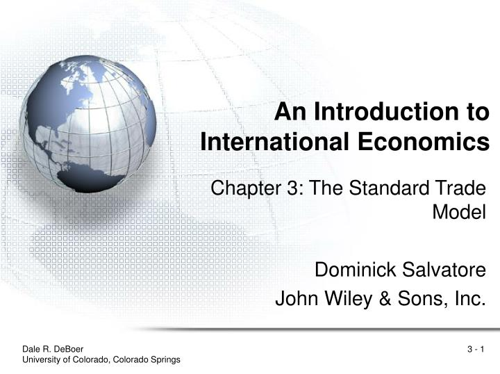 an introduction to international economics n.