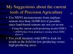 my suggestions about the current tools of precision agriculture13