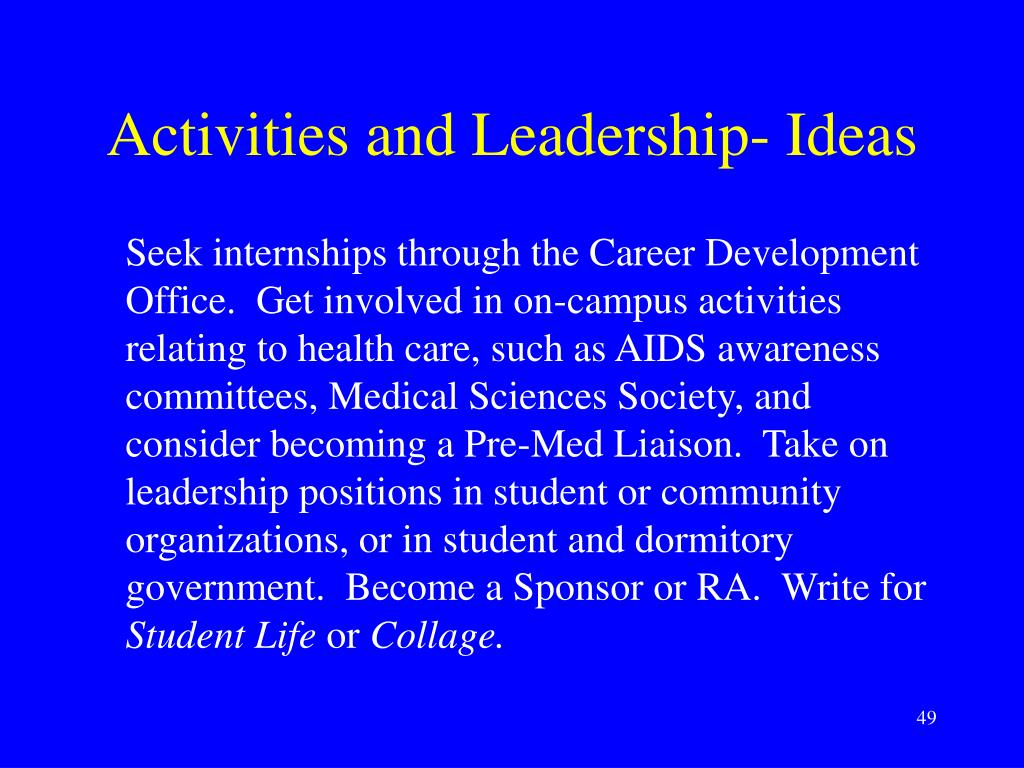Activities and Leadership- Ideas