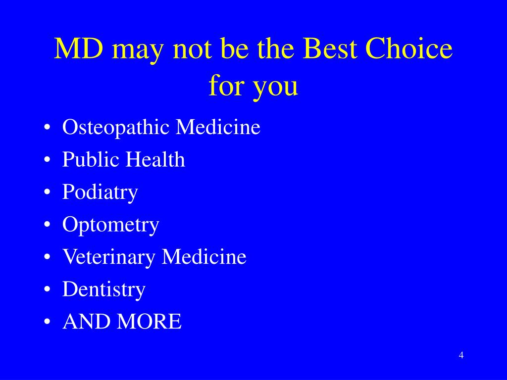 MD may not be the Best Choice for you