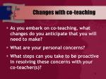 changes with co teaching