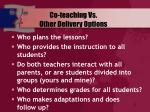 co teaching vs other delivery options