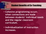student benefits of co teaching