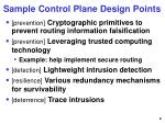 sample control plane design points