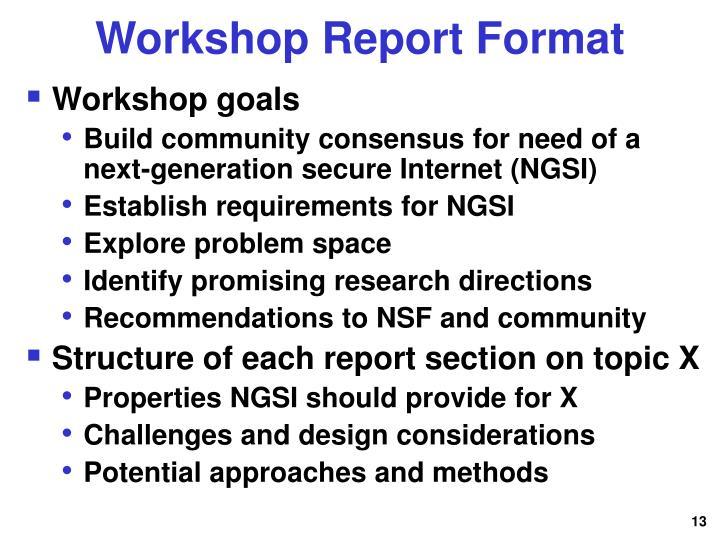 Workshop Report Format