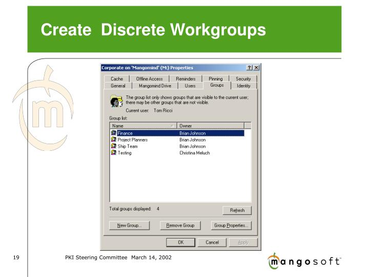 Create  Discrete Workgroups