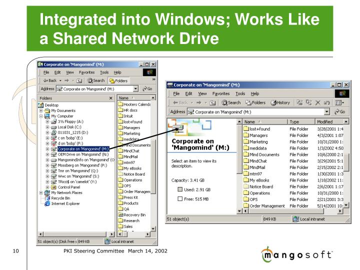 Integrated into Windows; Works Like a Shared Network Drive