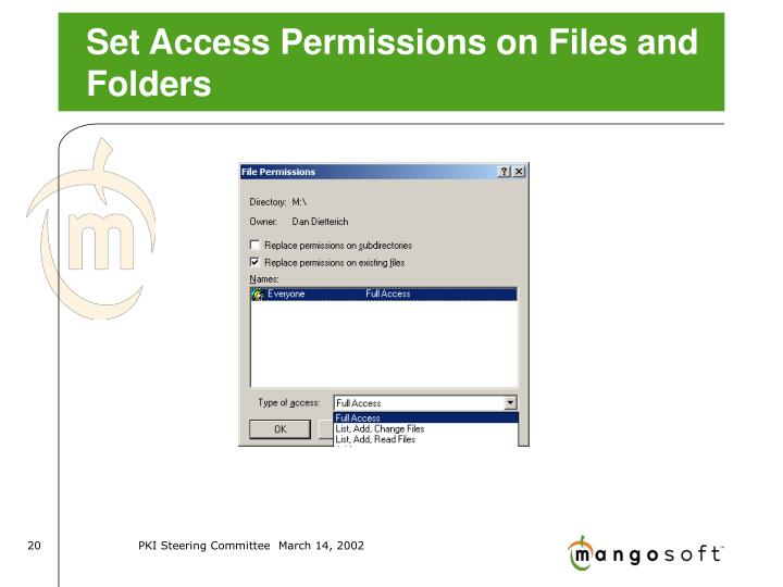 Set Access Permissions on Files and Folders