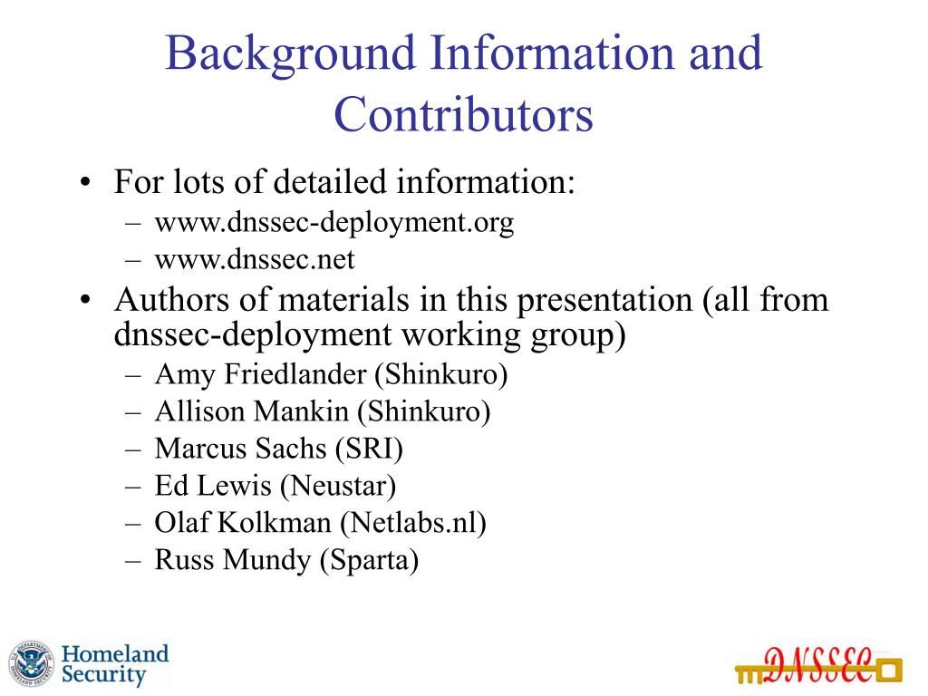 Background Information and Contributors