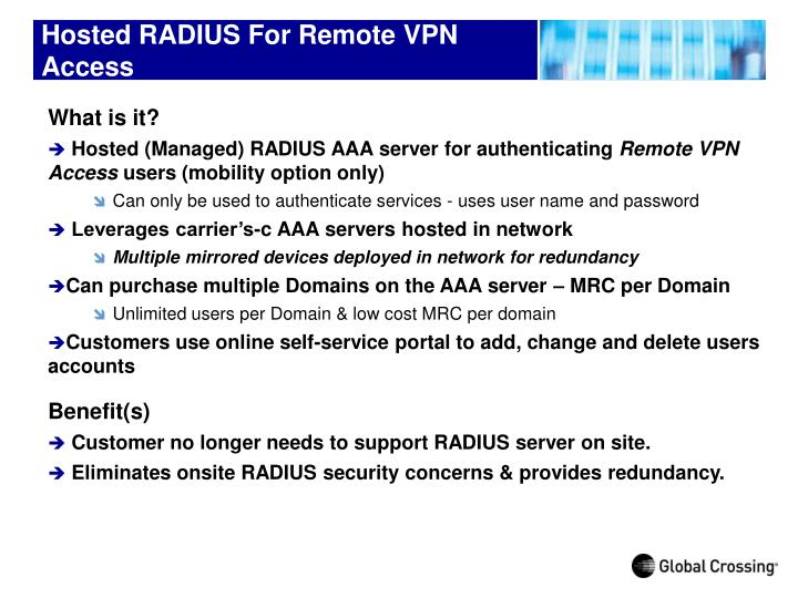 Hosted RADIUS For Remote VPN Access