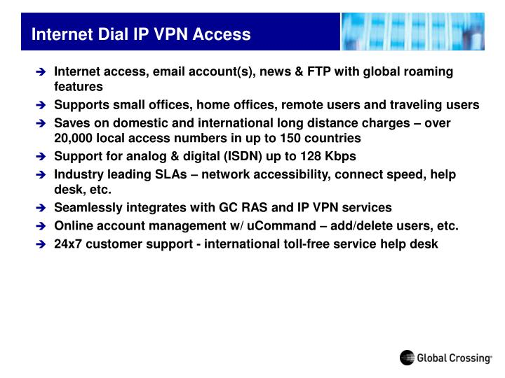 Internet Dial lP VPN Access