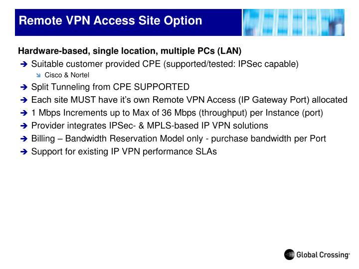 Remote VPN Access Site Option