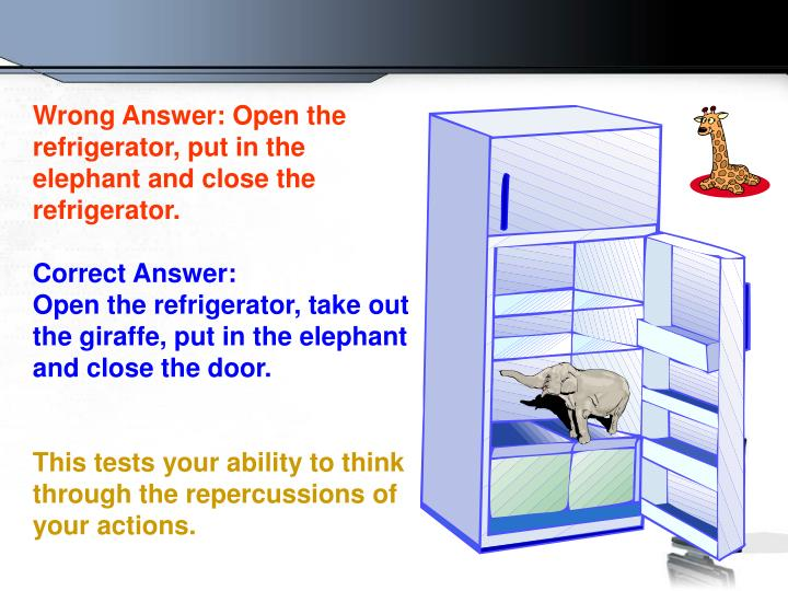Wrong Answer: Open the refrigerator, put in the elephant and close the refrigerator.