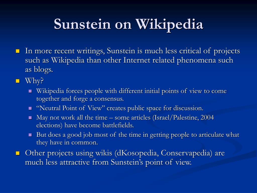 Sunstein on Wikipedia